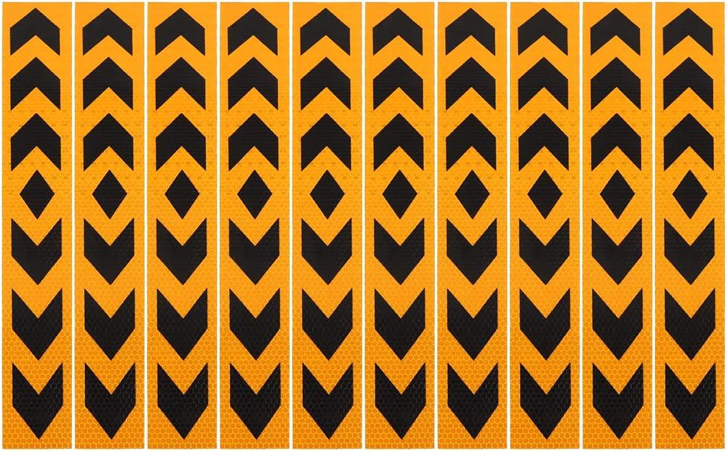 2 Pcs Reflective Arrow Pattern Sticker Yellow Black 40cm x 5cm for Car