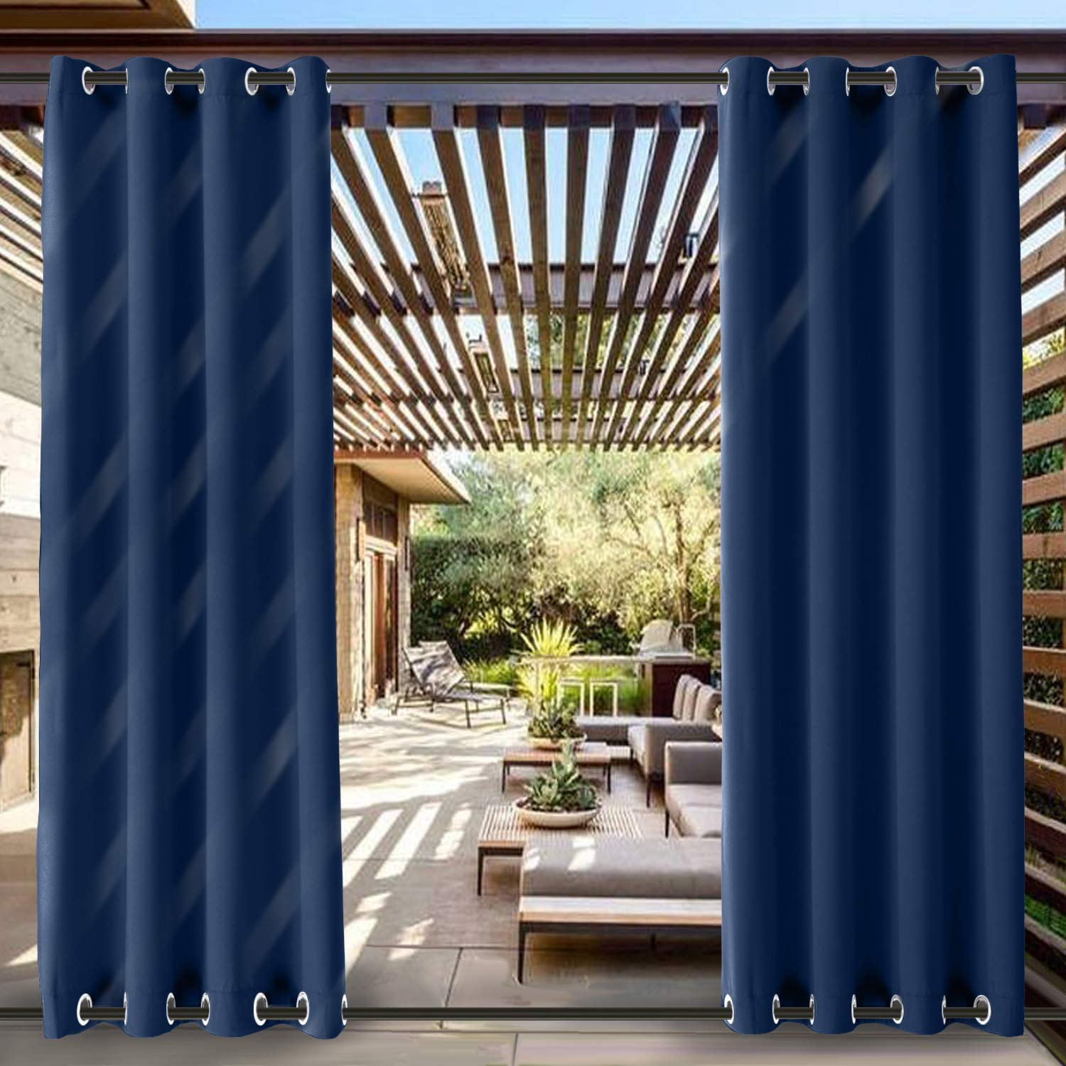 ChadMade Windproof Outdoor Curtain with Top Bottom Grommet Navy 200'' W x 96'' L, Waterproof Patio Cabana Porch Gazebo Panel Drapery (1 Panel)