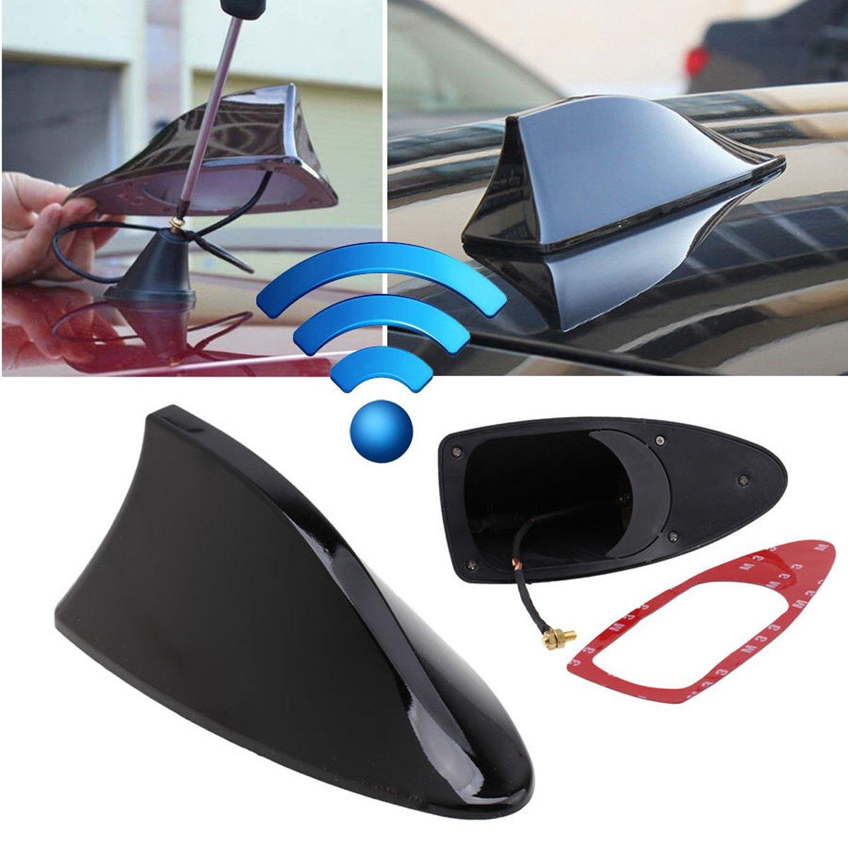 TraderPlus Universal Car Antenna Aerial Shark Fin AM/FM Radio Signal for Auto SUV Truck Van (Black)