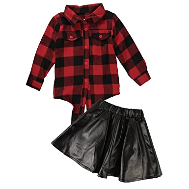 2147f7c2687b0 2pcs Toddler Kids Baby Girls Plaid Shirtand Leather Skirt Dress Outfits  Clothes Set (3-