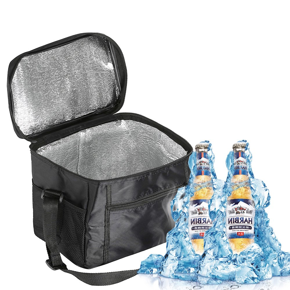 10L Large Insulated Cool Bag Picnic Lunch Cooler Box with Shoulder Strap for Lunch Picnic Camping Beach Car Trip Hiking (Black) New_Soul
