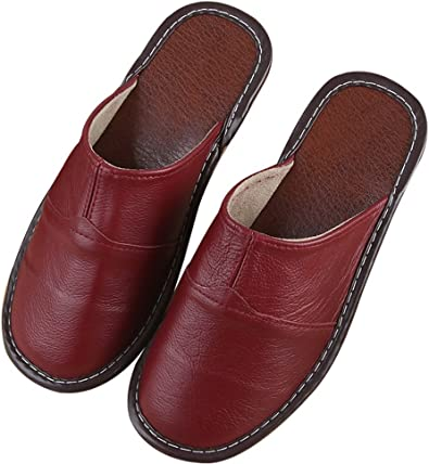Cattior Womens Leather Slippers Indoor