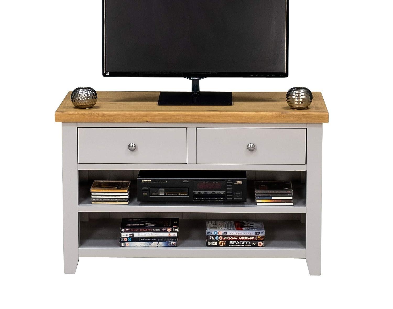 Ferndale Painted Oak Small TV Unit/Grey Standard TV Stand/Cabinet Living Room Furniture Ferndale Painted Grey Oak