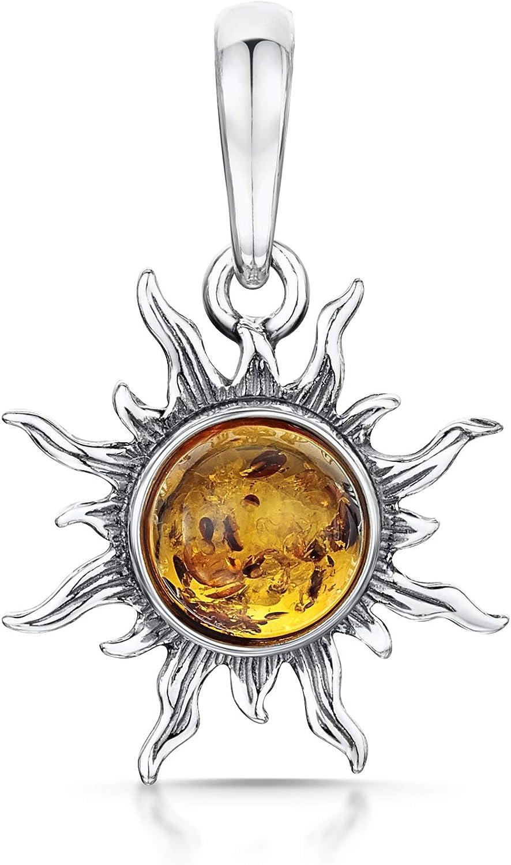 Amberta - Colgante con ámbar báltico, diseño en Forma de Sol, Hecho de Plata de Ley 925