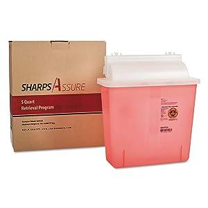 TrustMedical SC5Q4245QU Sharps Retrieval Program Containers, 5 qt, Plastic, Red