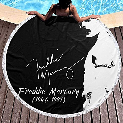 Duanrest Telo Mare Tondo Coperta Telo Mare Telo Mare Oversize con Nappe Queen Band Logo