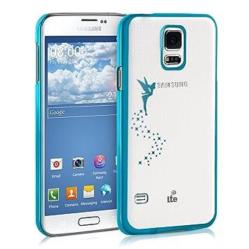 kwmobile Funda compatible con Samsung Galaxy S5 / S5 Neo - Carcasa de [TPU] con diseño de hada en [azul / transparente]