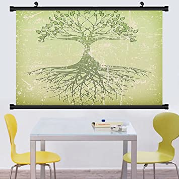 Amazon.com: Gzhihine Wall Scroll Tree of Life Decor Collection ...