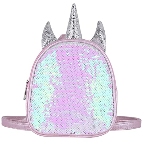 298c8b599bcc Toddler Kids Pink Unicorn School Bag 2 Way Sequins Critter Animal Backpack  Cute Soft Rainbow Little