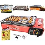 Camping BBQ Parrilla de gas gas horno grill portátil barbacoa mesa grill Incluye parrilla parrilla parrilla + +-Palillos + 4x Cartuchos de Gas + TRAG maletín (Color: Negro, Rojo o Orang)