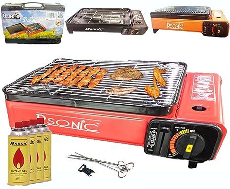 Camping BBQ Parrilla de gas gas horno grill portátil barbacoa mesa grill Incluye parrilla parrilla parrilla + +-Palillos + 4x Cartuchos de Gas + TRAG ...
