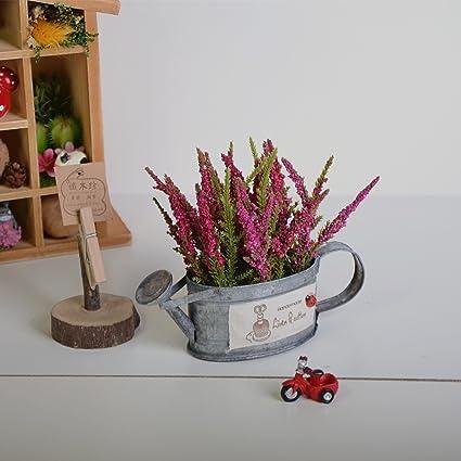 Simulación de estaño vintage Flor inmortal Mini Barrel Flor falsa planta en maceta de interior,