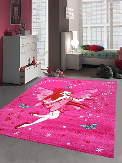 Kinderteppich Spielteppich Kinderzimmer Madchen Zauberfee Fee Tinkerbell Pink Grosse 120 Cm Rund