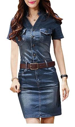 Bestfort Damen Jeanskleid V Ausschnitt Retro Denim Kleid Blusekleid