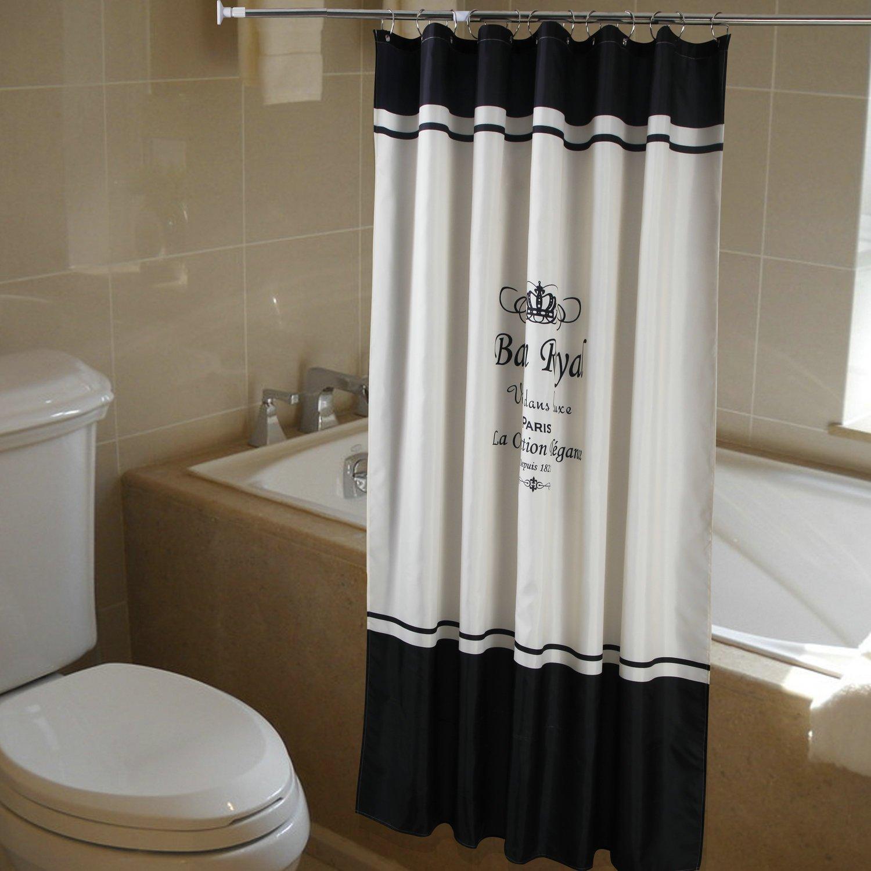 Rdeaux de douche avec 12/crochets Avec motif de couronne royale En polyester anti-moisissure bleu 180X180CM Polyester