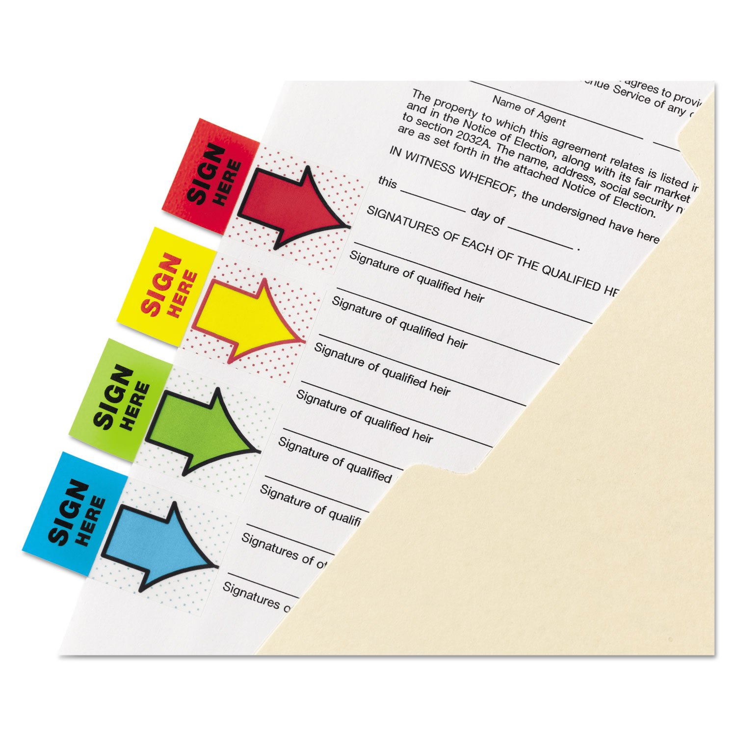 Post-it 680SH4VA Arrow Message 1'' Page Flags, 200''Sign Here'', 48 Arrow, Four Colors, 248/Pack