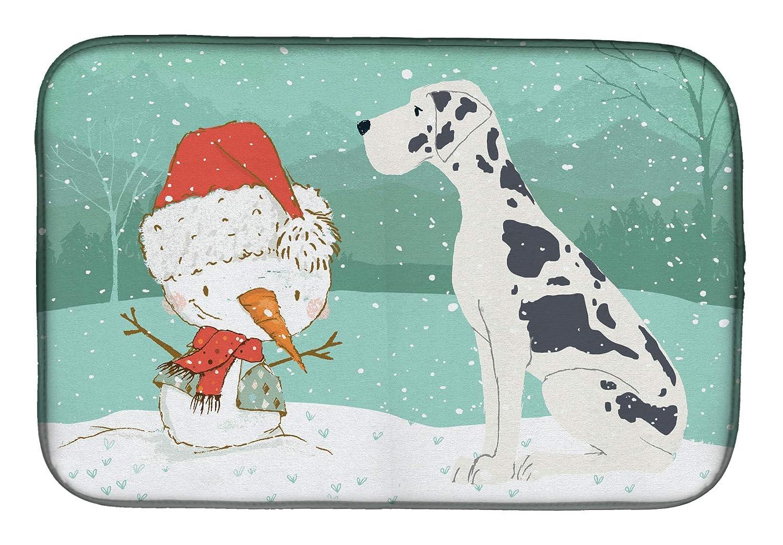 Caroline's Treasures CK2042DDM Harlequin Dane 雪だるま クリスマス 食器乾燥マット 14 x 21 マルチカラー   B07J1W72D6