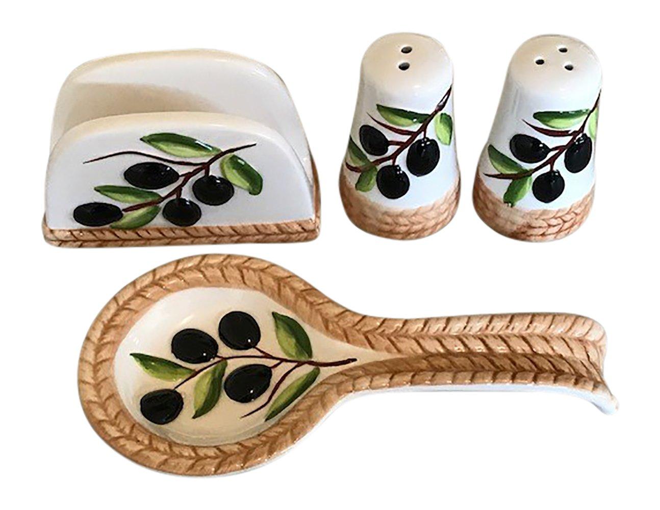 Tuscan Kitchen Decor Olive Tabletop Set, Salt and Pepper Shakers, Spoon Rest and Napkin Holder 3 Item Bundle