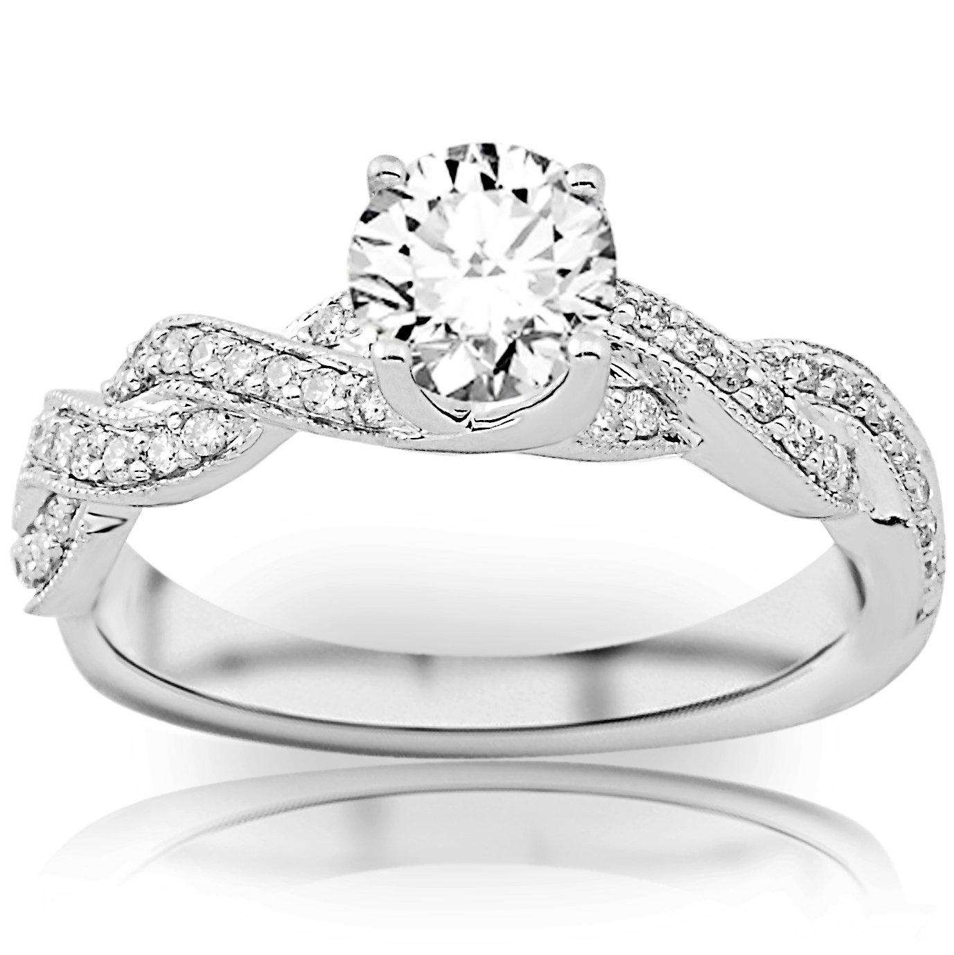 0.65 Carat Round Cut Twisting Designer Eternity Love Split Shank Diamond Engagement Ring With Milgrain (D-E Color, I2 Clarity) by Houston Diamond District (Image #1)