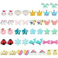 HAIMAY 21 Pairs Clip-on Earrings Girls Play Earrings with Different Styles for Party Favor, All Packed in 2 Clear Boxes