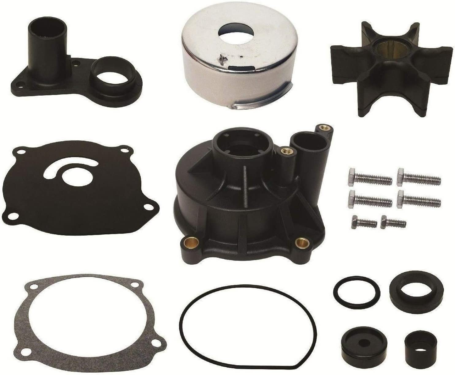 Water Pump Repair Kit with Housing for Johnson Evinrude V4 & V6 85 115 140 150 175 200 235 Hp 1978 & Earlier W Straight Key Impellers Replaces 18-3393 395073 Read Product Description for Applications