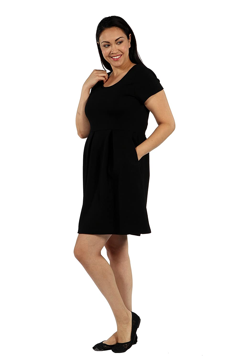 d4a37f43abc10 24seven Comfort Apparel Plus Size Clothing for Women Cap Sleeve Round Neck  Dress with Pockets - Made in USA - (Sizes 1XL-3XL) at Amazon Women s  Clothing ...