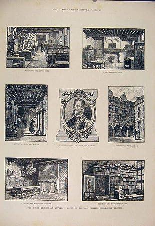 Antwerpen Küche | Alter Druck 1885 Museum Drucker Plantin Antwerpen Amazon De Kuche