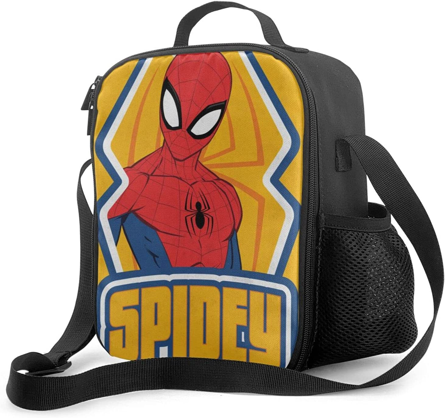 Reusable Lunch Bags Spi-der-man Insulated Lunch Bag, Leakproof Suitable Boys/Girls Lunch Box with Drinks Holder, Lightweight Food Warming Tote for Camping