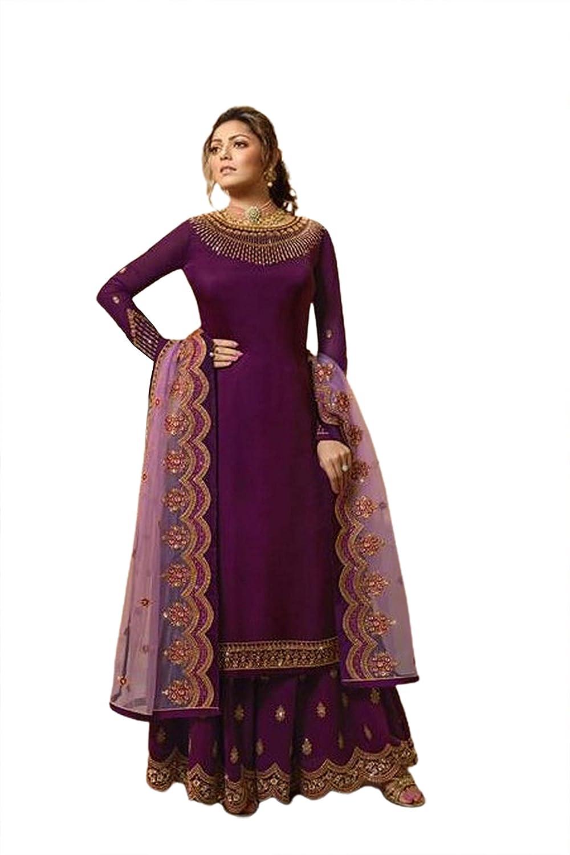 Indian Ethnic Straight Kurta Sharara Beautiful Embroidery Palazzo Kurta Top Suit