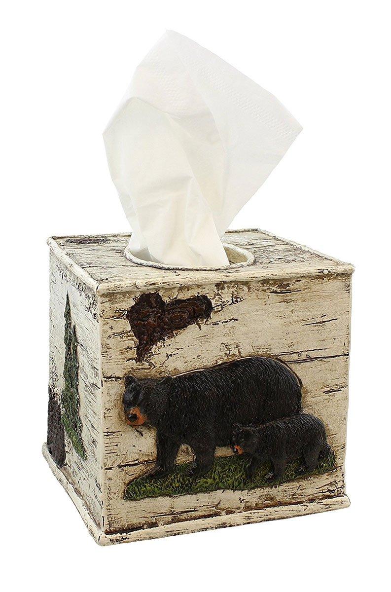 Black Bear on Birch Bathroom Accessories (Tissue Box Cover)