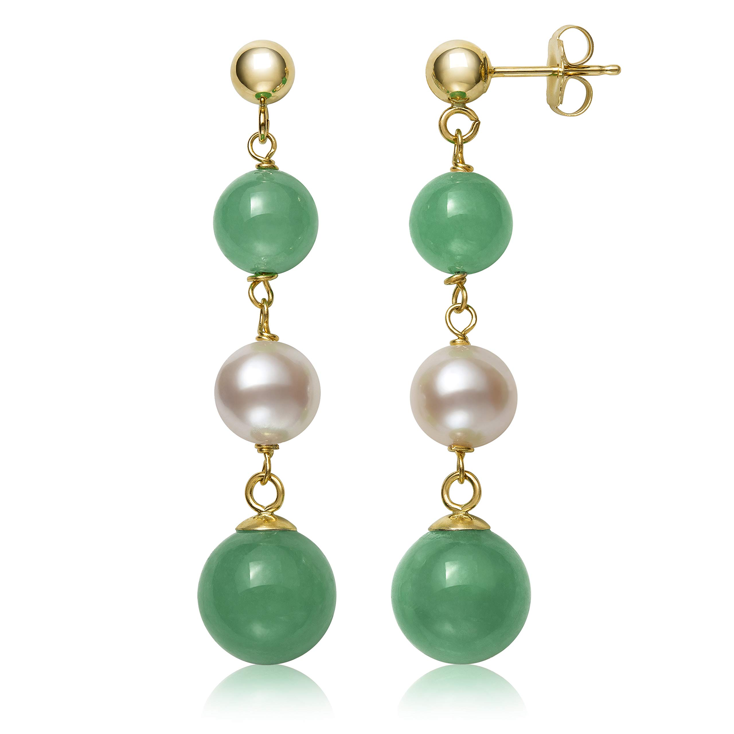14k Yellow Gold Natural Cultured Freshwater Pearl and Green Jade Dangle Earrings
