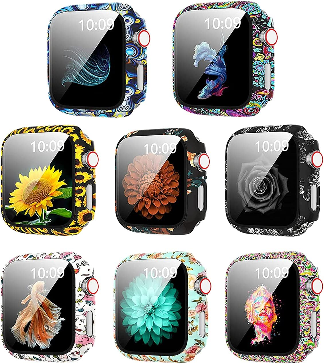 8 Pack Hard PC Flowers Case with Tempered Glass Smartwatch Screen Protectors Compatible with Apple Watch SE Series 6 5 4 3 2 44mm 40mm 42/38mm Full Protective Cover for Women Girl (8Pack, 40mm)