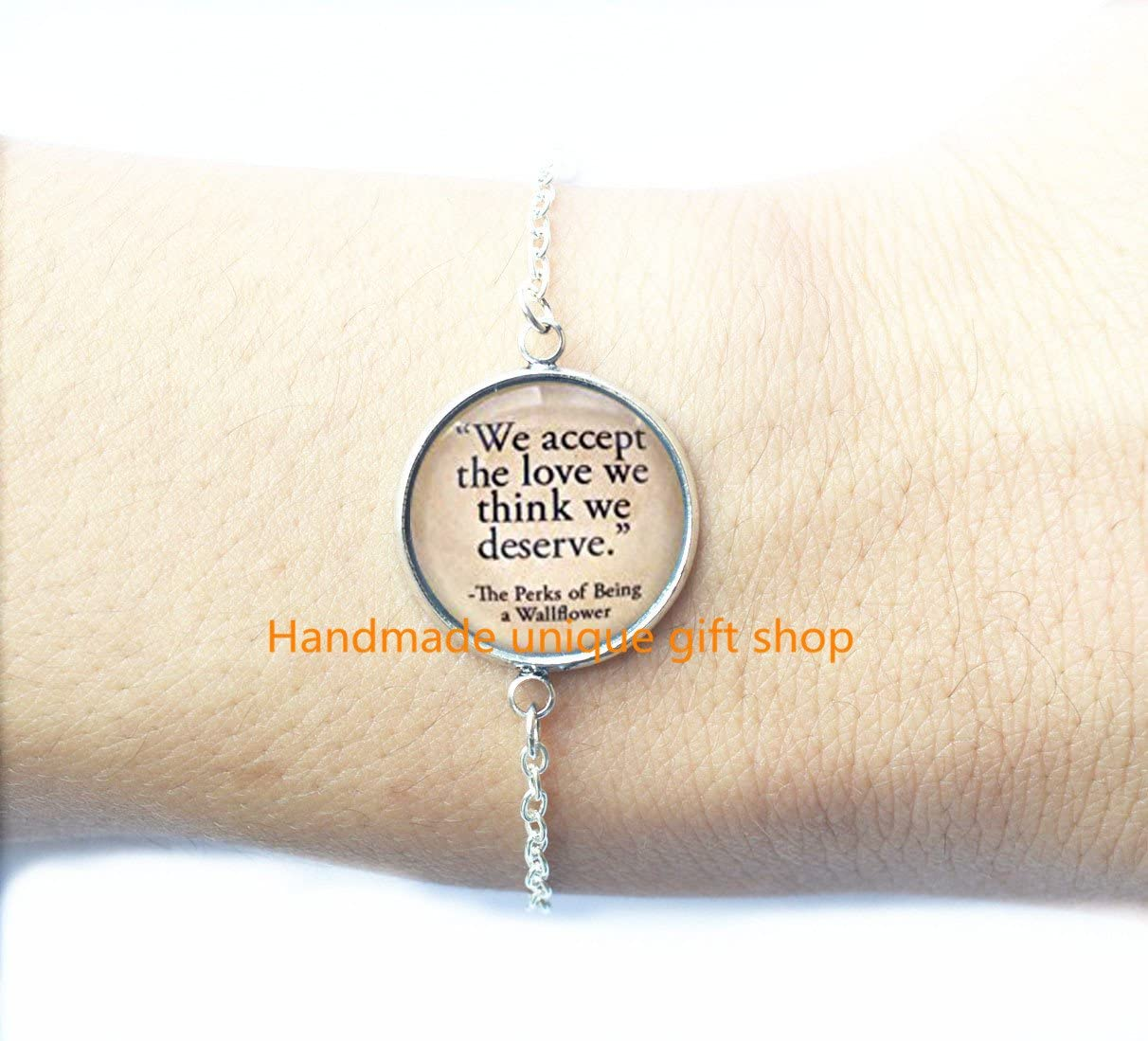 Delicate Bracelet,Fashion Bracelet We Accept the Love we Think we Deserve,Book Quote Bracelet,Charm Bracelets Book Lover Gift Accessories Quote Jewelry-RC159