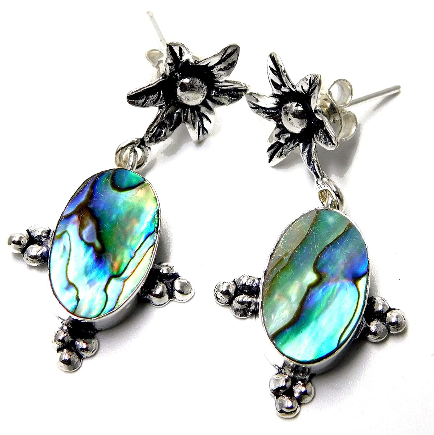 Abalone Shell,Flower Jewelry 925 Sterling Silver Plated Stud Earrings 7 Gm