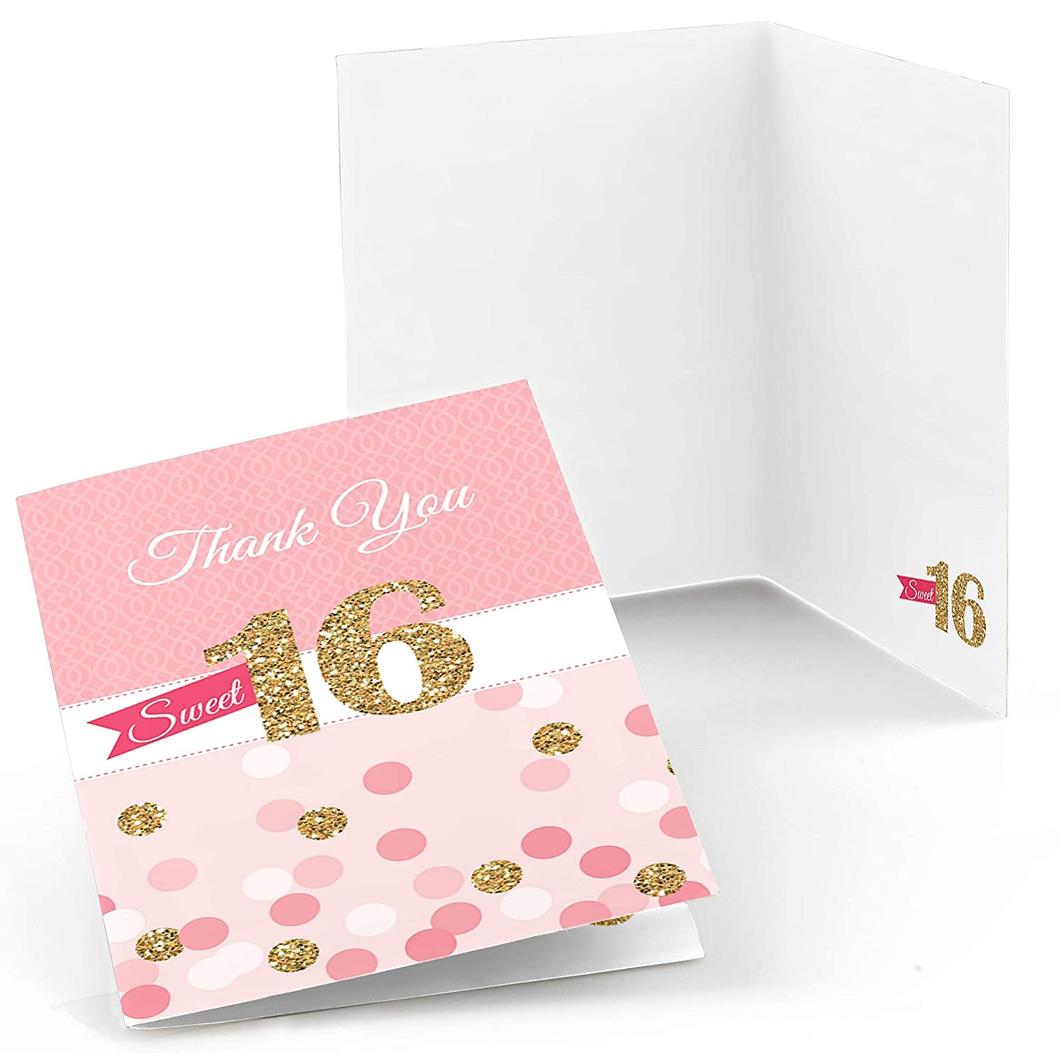 Big Dot of Happiness Sweet 16 Birthday Party Thank You Cards 8 Count