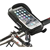 Bike Phone Bag Frame Mount Waterproof Touch Screen Cycling Bicycle Handbar Front Mobile Phone Holder 360°Rotatable Black Pouch Case for iPhone X 8 6s Plus Samsung s7 Note 7 Cellphone ≤ 6""