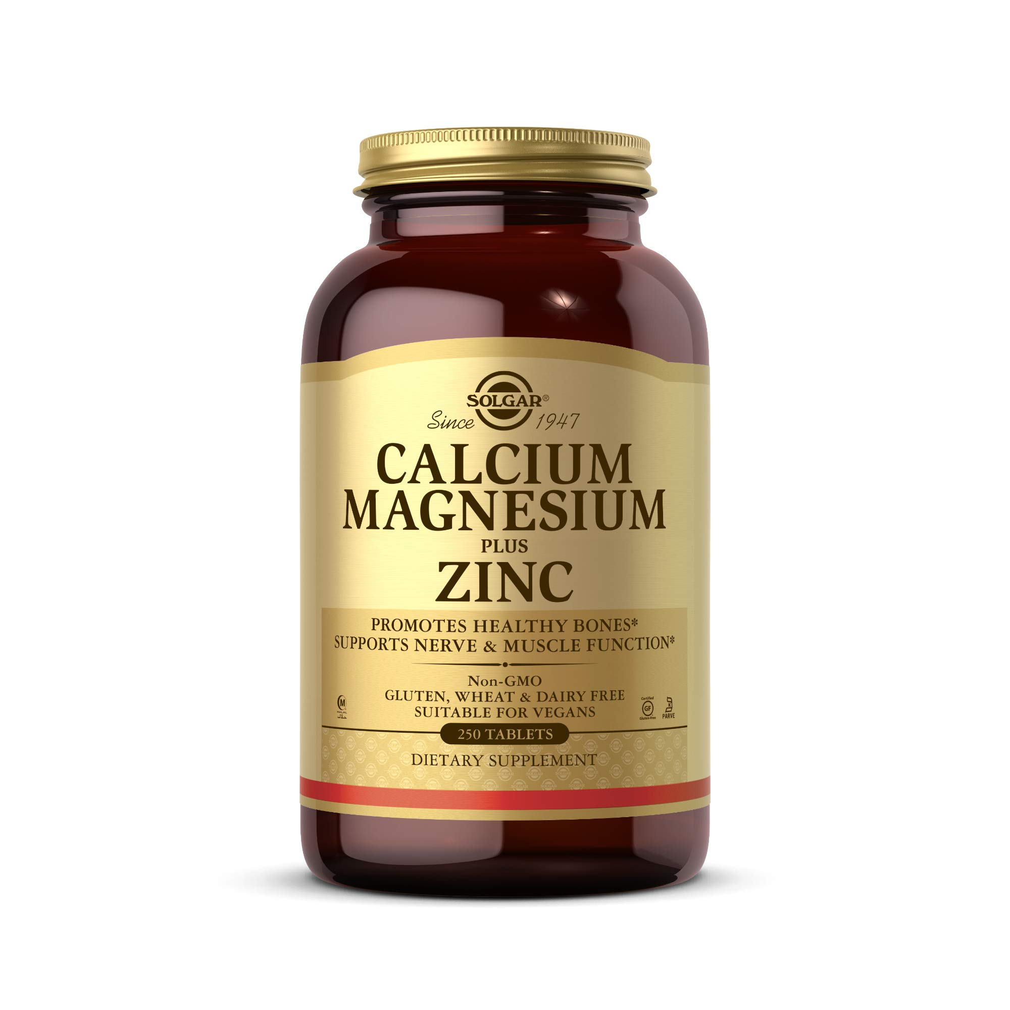Solgar Calcium Magnesium Plus Zinc, 250 Tablets - Promotes Healthy Bones and Teeth - Supports Nerve & Muscle Function - Non GMO, Vegan, Gluten Free, Dairy Free, Kosher, Halal - 83 Servings