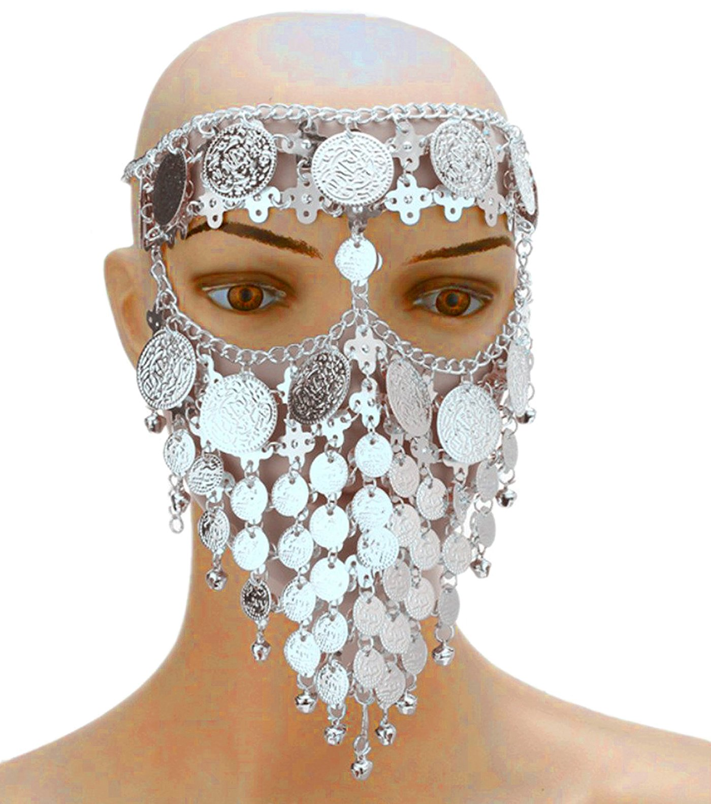 Astage Lady Cosplay Belly Dance Jewelry Coin Veil Halloween Accessories Silver Coin