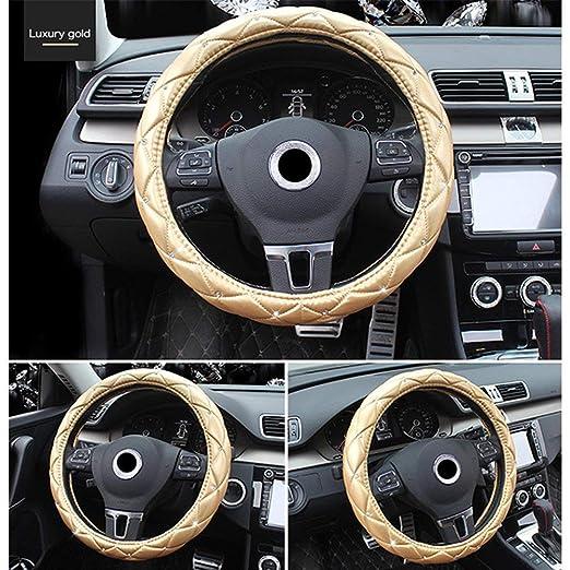 Lufei Luxury Car Steering Wheel Cover for Women Leather Crystal Rhinestone Series 15