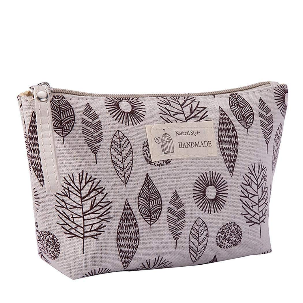 SUGEER Cotton Linen Large Capacity Makeup Bag Multifunction Print Travel Cosmetic Bag Change Bag 1PC,Printed Canvas Cosmetic Bag, Multi-Function Travel Coin Purse Holder Bags