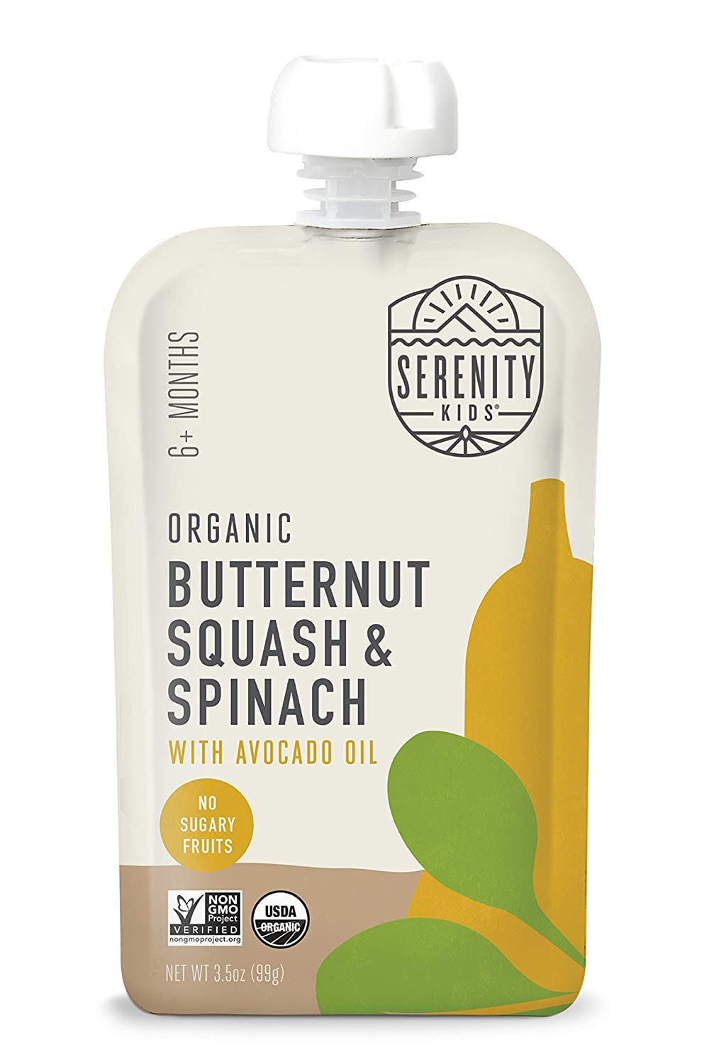 Serenity Kids Baby Food Pouches, Organic Butternut Squash and Spinach with Avocado Oil, For 6+ Months, 3.5 Ounce Pouch (12 Count)