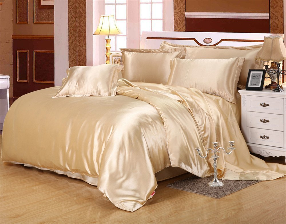 MoonLight Bedding Luxury Soft Silky Satin 5-Pcs Duvet Set ( 1 Duvet cover & 4 Pillowcases) King/Cal-King, Dark Ivory