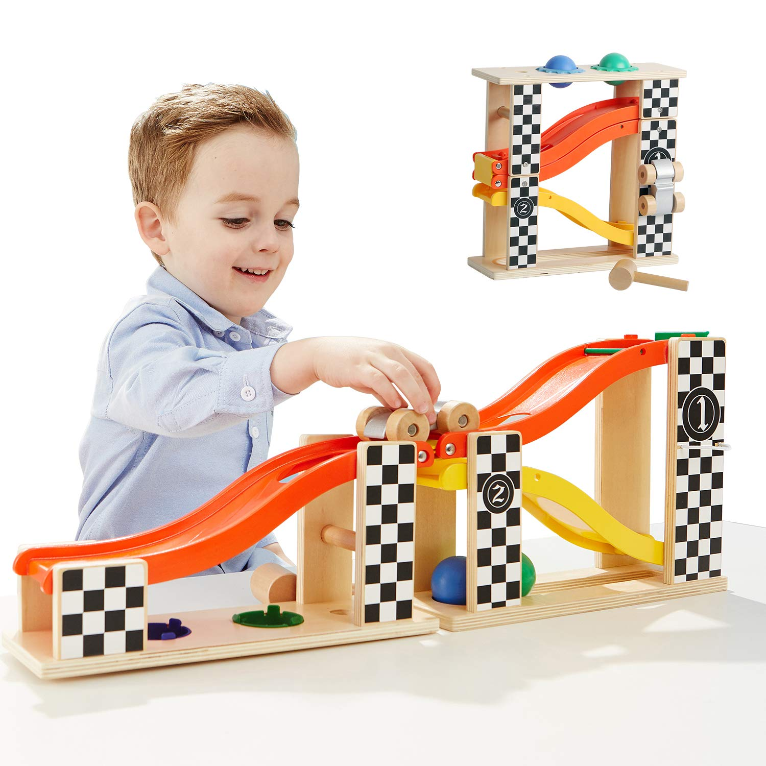 TOP BRIGHT Pound and Roll Tower Wooden Toys for 1 2 Year Old Boy Gifts with Hammer and 2 Balls