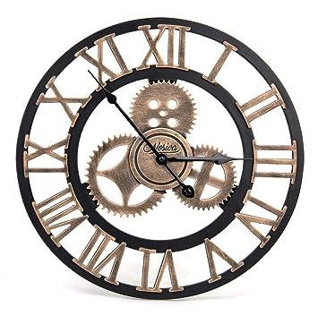 YYLL Reloj de Pared Originales Reloj Decorativo Grandes Mecanismo Reloj Pared Adhesivo 40 cm con Num Rico Romano Engranaje Hueca Estilo: Amazon.es: Deportes ...