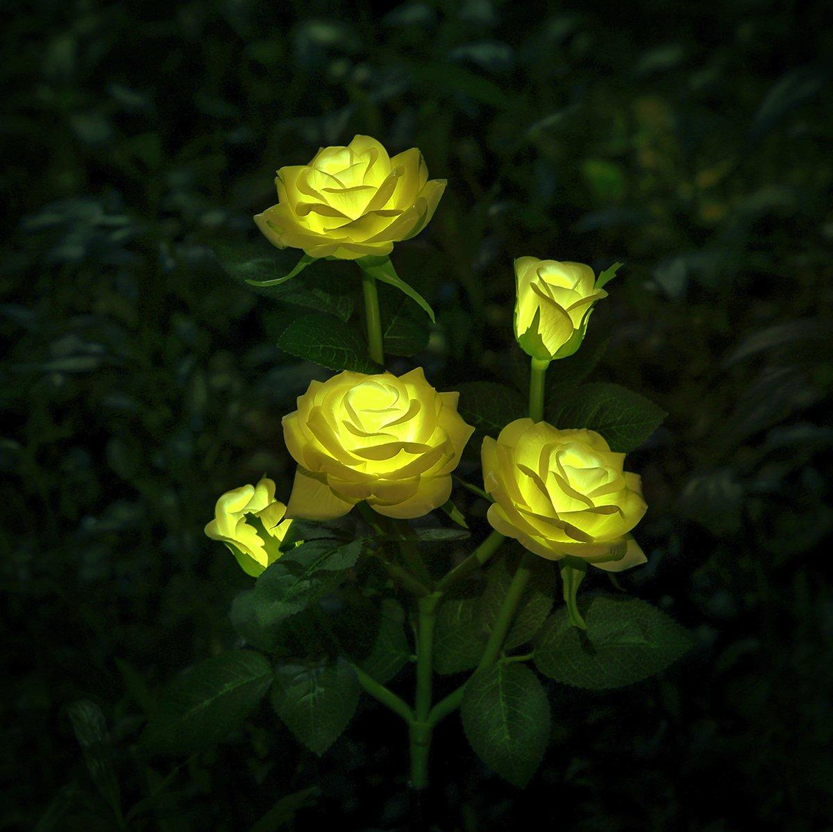 XLUX decorative solar rose flower light, Yellow
