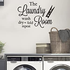 Laundry Room Stickers Art Quotes Words Removable Wall Decor Design Wash Dry Fold and Repeat for Laundry Room Decals (1 Sheet)