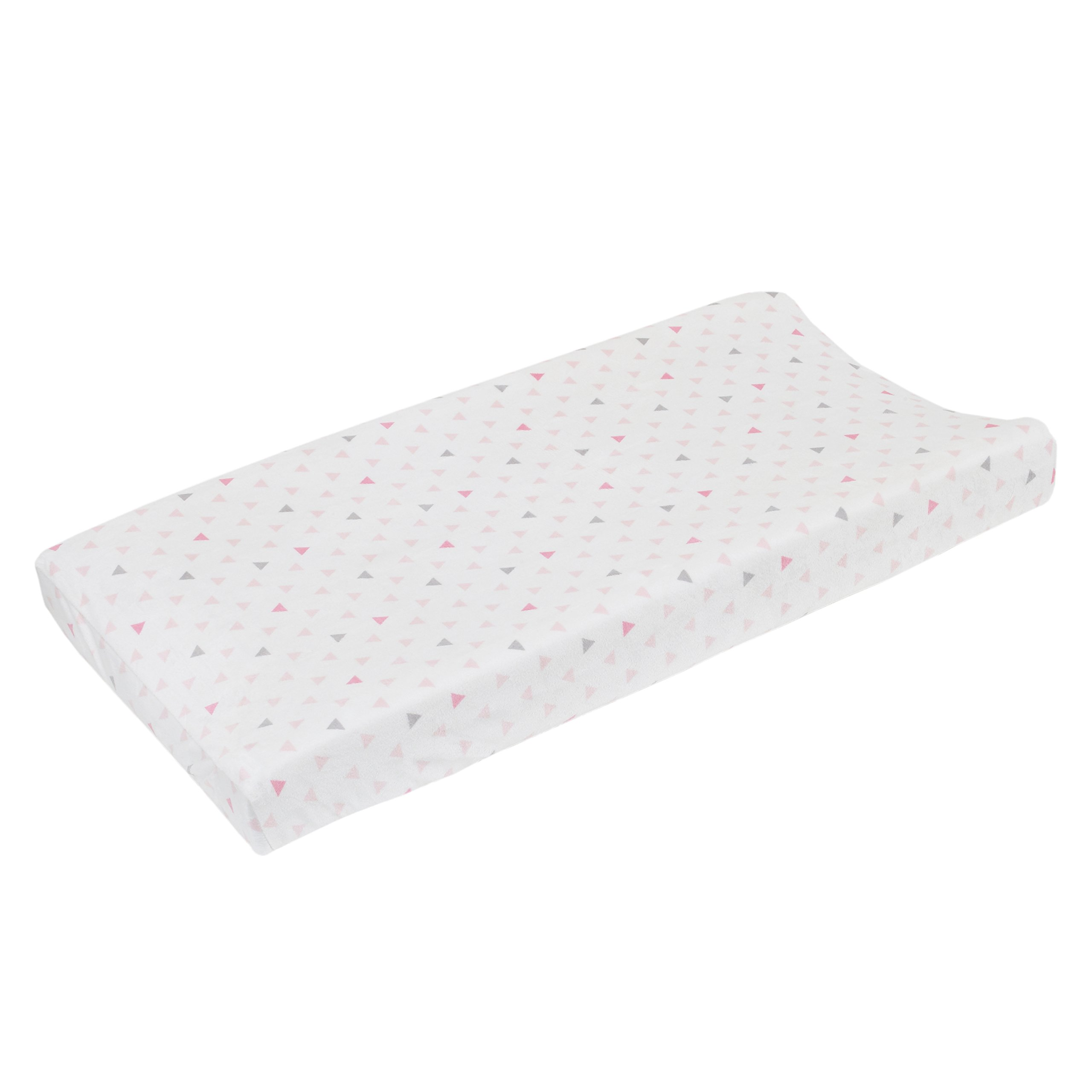 NoJo Aztec Mix & Match Super Soft Changing Pad Cover, Pink, Grey, White, Triangles Velboa by NoJo