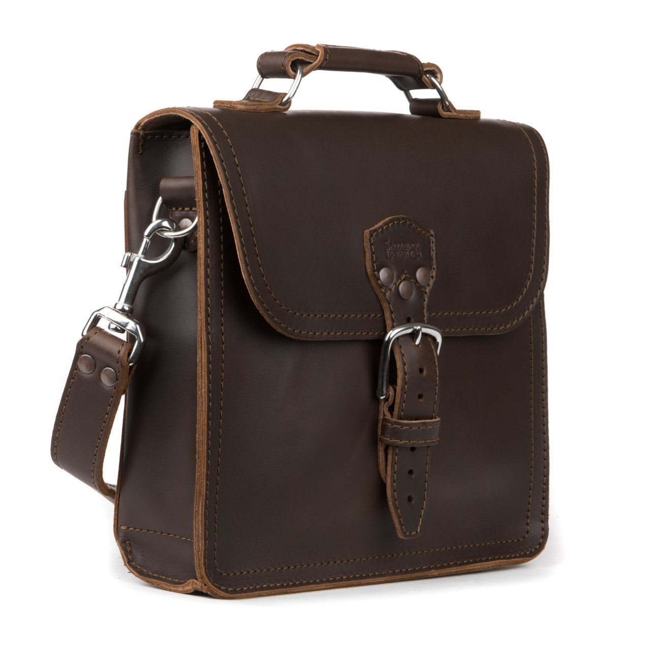 Saddleback Leather Co. Indiana Messenger Gear Bag Full Grain Leather Slim Satchel for Men Includes 100 Year Warranty.