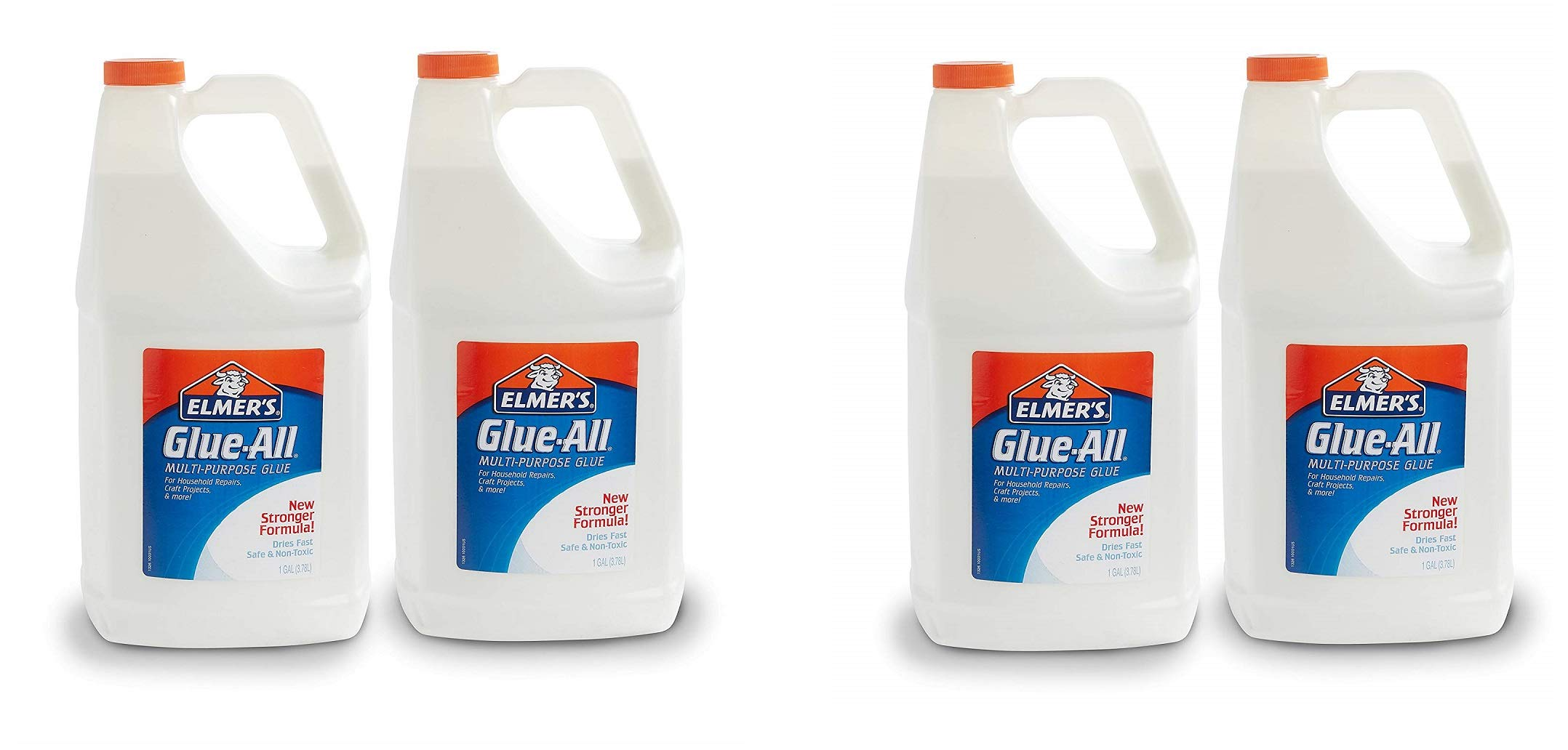 Elmers Glue-All Multi-Purpose Liquid Glue, Extra Strong, 1 Gallon, Great for Making Slime, 4 Pack