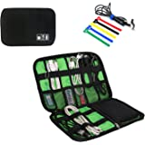 Universal Electronic Accessories Organizer,waterproof travel organizer camo cable bag for phone charger cable (BLACK)